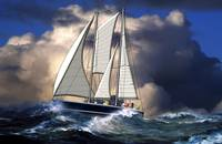 Pagan Staysail Schooner in Rough Seas