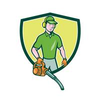 Gardener Landscaper Leaf Blower Crest Cartoon