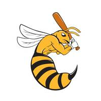 Killer Bee Baseball Player Bat Cartoon