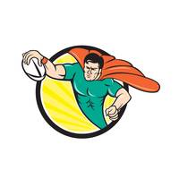 Superhero Rugby Player Scoring Try Circle
