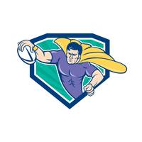 Superhero Rugby Player Scoring Try Crest