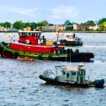 """Norfolk VA - Police Boat and Two Tugboats"" by susansartgallery"