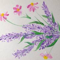 Pink daisies and lavender Art Prints & Posters by Anne Berry-Smith