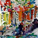 """Italy Riomaggiore Expressive Modern Watercolor"" by GinetteCallaway"
