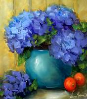 Kitchen Nook Blue Hydrangeas