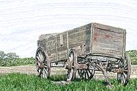 Abandoned Wooden Wagon in a Field