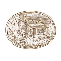 Log Cabin Farm House Oval Etching