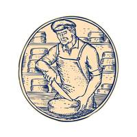 Cheesemaker Cutting Cheddar Cheese Etching