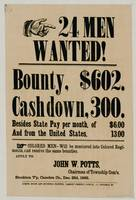 24 Men Wanted! 1863. Letterpress poster, Curtz, pr