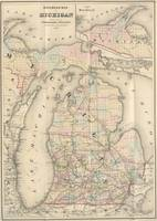 1876 RAIL ROAD MAP MICHIGAN