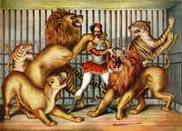 A 19th century lithograph of a Lion tamer in cage