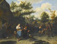 CORNELIS DUSART, PEASANTS PLAYING SKITTLES BEFORE