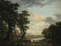 GEORGE BARRET, R.A.. AN EXTENSIVE WOODED RIVER LAN