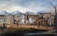 George Washington reviews the troops near Fort Cum