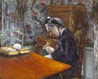 Mademoiselle Boissiere Knitting , Gustave Caillebo