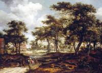 Meindert Hobbema. Wooded Landscape with Travellers