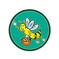 Bee Carrying Basket With Bread Cartoon