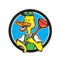 Duck Plumber Holding Plunger Circle Cartoon