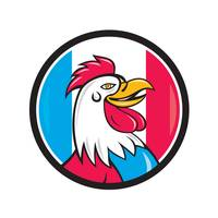 French Rooster Head France Flag Circle Cartoon