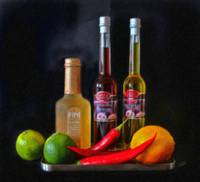 Vinegar Oil Fruit and Peppers StillLife-STL424537