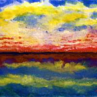 """Seascape Sunrise Painting C"" by Ricardos Creations"