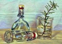 Bottles and Rosemary Still life STL646622