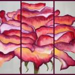 """Rose - Triptych Painting"" by LizMoran"