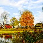 """Farm by Pond in Autumn"" by susansartgallery"