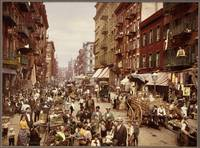 A photochrom of Mulberry Street in New York City c