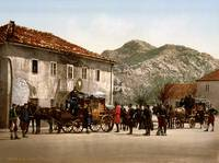 Arrival of the post, Cetinje, Montenegro, ca. 1895