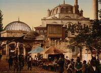 Mosque and street, Scutari, Constantinople, Turkey