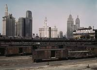 Trains and Chicago Skyline by Jack Delano, 1943 (L