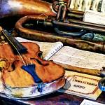 """Violin And Bugle"" by susansartgallery"