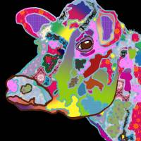 Colorful Daisy the Cow Art Prints & Posters by Kate Farrant