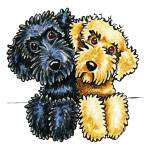 """Labradoodles Black Yellow Lined Up"" by OffLeashArt"