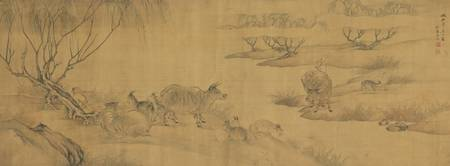 FANG XUN 1736-1799 SHEPHERD WITH OXEN AND SHEEP