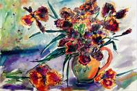 Black Irises Watercolor by Ginette