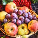 """Fruit Basket with Grapes and Apples-STL696169"" by rdwittle"