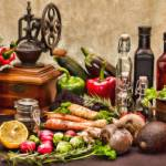 """Vegetables, Bottles, and Spice Mill - STL658109"" by rdwittle"