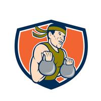 Strongman Lifting Kettlebell Crest Cartoon