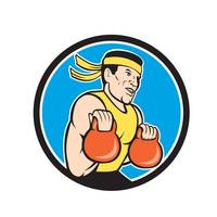 Strongman Lifting Kettlebell Circle Cartoon