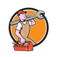 Mechanic Carrying Spanner Toolbox Circle Cartoon