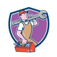 Mechanic Carrying Spanner Toolbox Crest Cartoon
