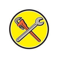 Spanner Monkey Wrench Crossed Circle Cartoon