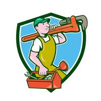 Plumber Carrying Monkey Wrench Toolbox Crest