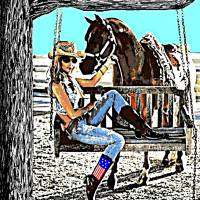 Swingin' Country Girl Art Prints & Posters by Dave Gafford