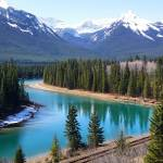 """Canadian Rockies by the River"" by dancinfreakshow"