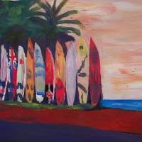 Surf Board Fence Wall at the Seaside Art Prints & Posters by M Bleichner