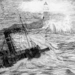 My pencil drawing of Distress at Corbiere Light, C