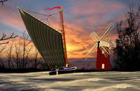 Norfolk Wherry and Windmill, Norfolk Broads